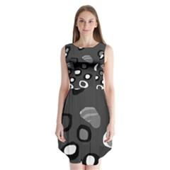 Gray abstract pattern Sleeveless Chiffon Dress