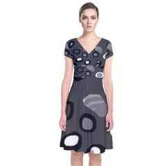 Gray abstract pattern Short Sleeve Front Wrap Dress