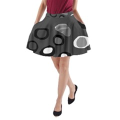 Gray abstract pattern A-Line Pocket Skirt