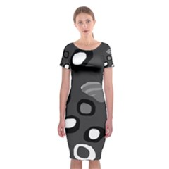 Gray abstract pattern Classic Short Sleeve Midi Dress