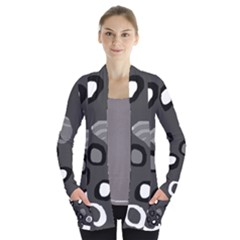 Gray abstract pattern Women s Open Front Pockets Cardigan(P194)