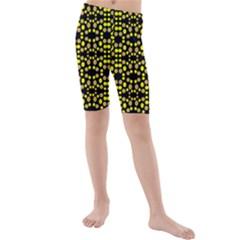 Dots Pattern Yellow Kid s Mid Length Swim Shorts