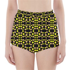 Dots Pattern Yellow High-Waisted Bikini Bottoms