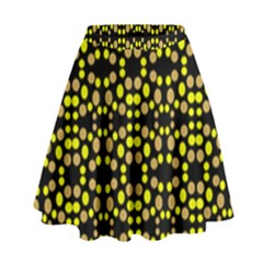 Dots Pattern Yellow High Waist Skirt