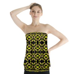 Dots Pattern Yellow Strapless Top
