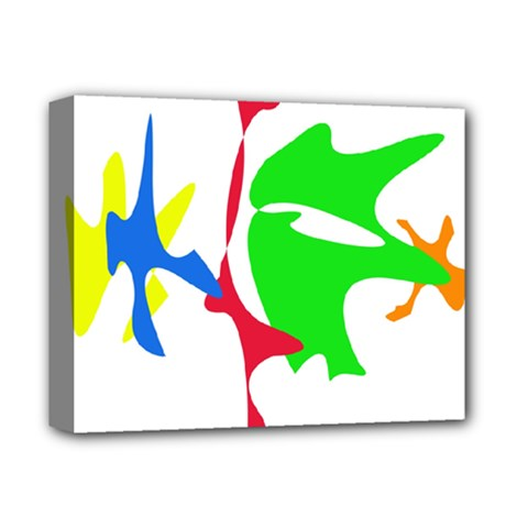 Colorful amoeba abstraction Deluxe Canvas 14  x 11