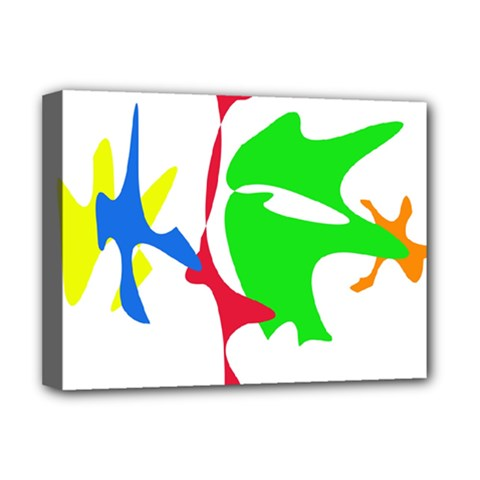 Colorful amoeba abstraction Deluxe Canvas 16  x 12