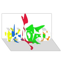 Colorful Amoeba Abstraction #1 Dad 3d Greeting Card (8x4)