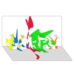 Colorful amoeba abstraction SORRY 3D Greeting Card (8x4)
