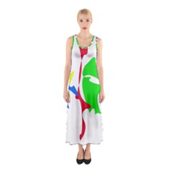 Colorful Amoeba Abstraction Sleeveless Maxi Dress