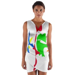 Colorful amoeba abstraction Wrap Front Bodycon Dress
