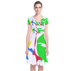 Colorful amoeba abstraction Short Sleeve Front Wrap Dress