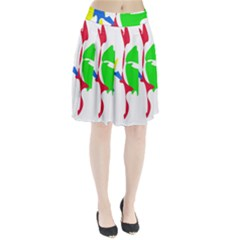 Colorful amoeba abstraction Pleated Skirt