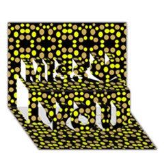 Dots Pattern Yellow Miss You 3D Greeting Card (7x5)