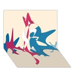 Decorative amoeba abstraction Ribbon 3D Greeting Card (7x5)