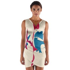 Decorative amoeba abstraction Wrap Front Bodycon Dress