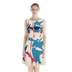 Decorative amoeba abstraction Sleeveless Waist Tie Dress