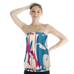 Decorative Amoeba Abstraction Strapless Top