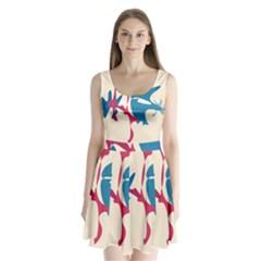 Decorative amoeba abstraction Split Back Mini Dress
