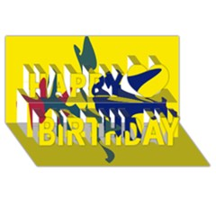 Yellow amoeba abstraction Happy Birthday 3D Greeting Card (8x4)