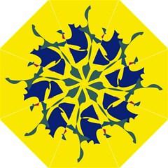Yellow amoeba abstraction Hook Handle Umbrellas (Large)