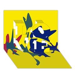 Yellow amoeba abstraction LOVE 3D Greeting Card (7x5)