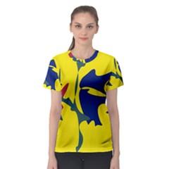 Yellow amoeba abstraction Women s Sport Mesh Tee