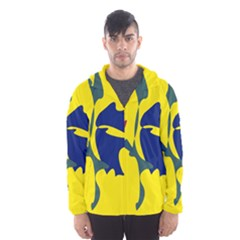 Yellow amoeba abstraction Hooded Wind Breaker (Men)