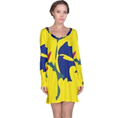 Yellow amoeba abstraction Long Sleeve Nightdress