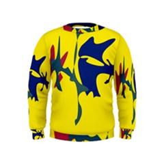 Yellow amoeba abstraction Kids  Sweatshirt