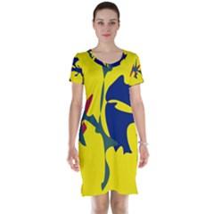 Yellow amoeba abstraction Short Sleeve Nightdress