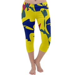 Yellow amoeba abstraction Capri Yoga Leggings