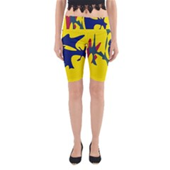 Yellow amoeba abstraction Yoga Cropped Leggings