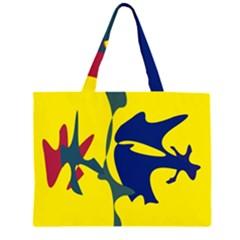 Yellow amoeba abstraction Large Tote Bag