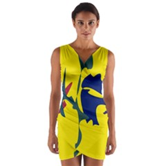 Yellow amoeba abstraction Wrap Front Bodycon Dress