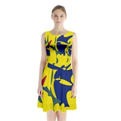 Yellow amoeba abstraction Sleeveless Waist Tie Dress