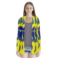 Yellow Amoeba Abstraction Drape Collar Cardigan