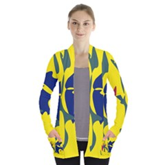 Yellow amoeba abstraction Women s Open Front Pockets Cardigan(P194)