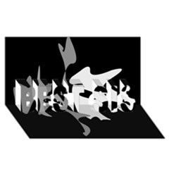 Black and white amoeba abstraction BEST SIS 3D Greeting Card (8x4)