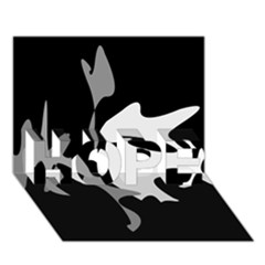 Black and white amoeba abstraction HOPE 3D Greeting Card (7x5)