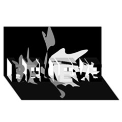 Black and white amoeba abstraction BELIEVE 3D Greeting Card (8x4)