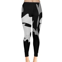 Black and white amoeba abstraction Leggings