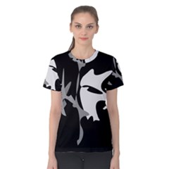 Black and white amoeba abstraction Women s Cotton Tee