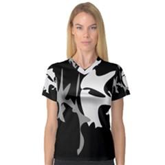 Black and white amoeba abstraction Women s V-Neck Sport Mesh Tee