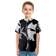 Black and white amoeba abstraction Kid s Sport Mesh Tee