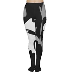 Black and white amoeba abstraction Women s Tights
