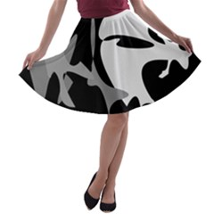 Black and white amoeba abstraction A-line Skater Skirt