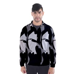 Black and white amoeba abstraction Wind Breaker (Men)
