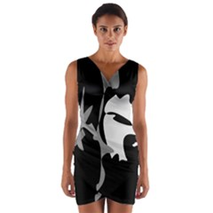 Black And White Amoeba Abstraction Wrap Front Bodycon Dress
