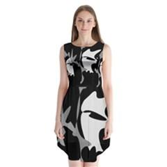 Black and white amoeba abstraction Sleeveless Chiffon Dress